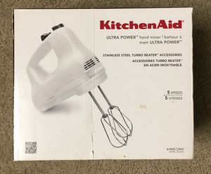 New KitchenAid 5-speed Ultra Power hand mixer with stainless steel beater for Sale in Gaithersburg, MD