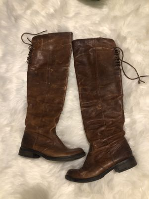 Women's Brown Distressed Leather Knee High Boots Size 38 for Sale in Marysville, WA