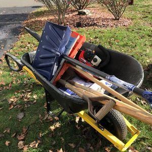 Landscaper bundle as is wheel barrel concrete shovels blower for Sale in Plainville, CT