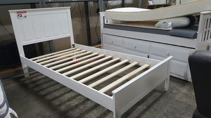 TWIN SIZE Wood Platform Bed with Headboard / No Box Spring Needed / Wood Slat Support, White| 7582T-WH for Sale in Garden Grove, CA