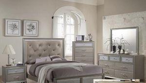 Bedroom set Queen bed +Nightstand +Dresser +Mirror. Mattress not included for Sale in Norco, CA
