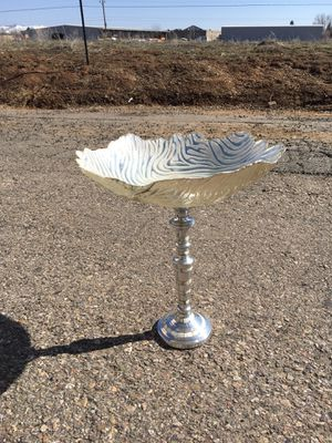 """Bird Bath or Feeder for your garden...Silver tones make this pop. Stand is mother of pearl. 15"""" h for Sale in Pagosa Springs, CO"""