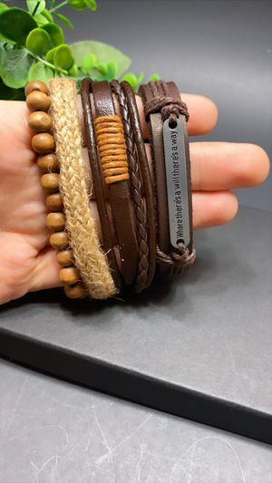 Braided Multi-layer Leather Bracelet (Set of 4), Where There's a Will, There's a way for Sale in Los Angeles, CA