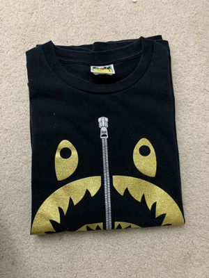 Bape gold glitter shark tee - size L for Sale in San Diego, CA