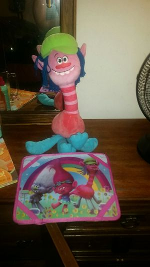 Trolls velcro tray and stuffed animal for Sale in Orange, CA