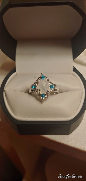 .925 Sterling Silver And Blue SapphireAnd Fire Opal Ring for Sale in Amarillo, TX