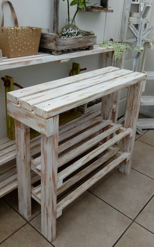 """42""""X 36""""W X 12""""D 🌱Solid Wood Entryway Consoles Table/Coffee Buffet/ShoeRack with 2 Shelves ::: Rustic Distressed Whitw for Sale in Las Vegas, NV"""