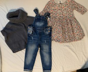 Old navy Toddler girl clothes 3t overalls poncho dress for Sale in Herndon, VA