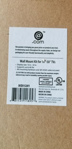 Wall mount kit TV for 10/ 50 inch (NEW) for Sale in Murray, UT