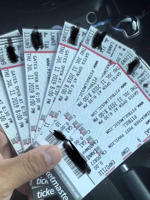 Pitbull Lawn Seats Hard Copy Tickets $40