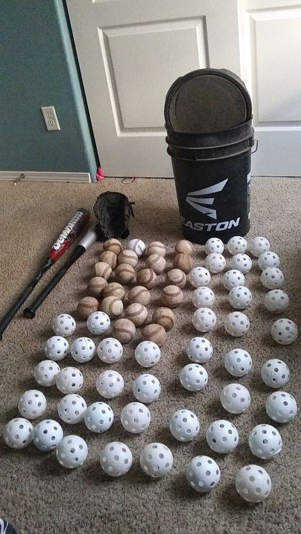 selling baseball bat glove bucket with pad on top and baseballs and waffle balls for 150