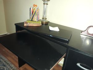 black wooden medium size desk. in good condition . 1 drawer and storage space . for Sale in Cordele, GA