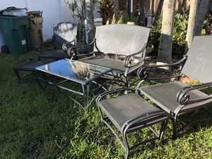 outdoor 6pc Sofa bench chairs table & ottomans set for Sale in Davie, FL