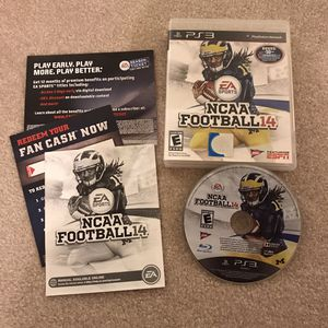 NCAA Football 14 ps3 playstation 3 rare video game complete disc case manual clean condition for Sale in Burtonsville, MD