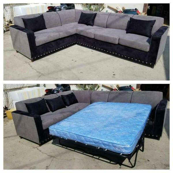 NEW 7X9FT CHARCOAL MICROFIBER SECTIONAL WITH SLEEPER COUCHES