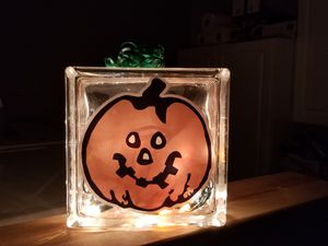 Decorative Glass Block Jack-O- Lantern for Sale in St. Louis, MO