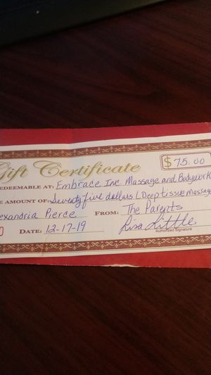 Massage gift certificate at Embrace Inc for Sale in Winston-Salem, NC