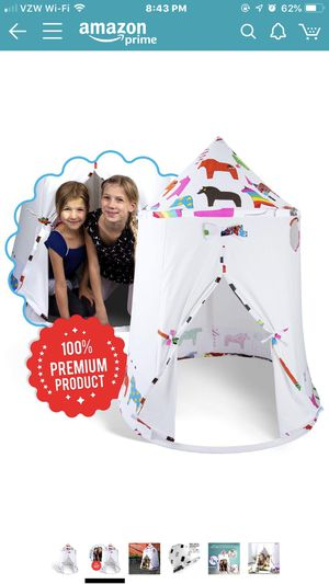 New Kids Teepee Tent Indoor/Outdoor Playhouse. Camping Pattern Canvas Kit for Sale in Bridgeport, CT