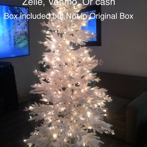 Artificial Christmas Tree Pre-Lit Pine White 7Ft' Clear Lights for Sale in Norwalk, CA