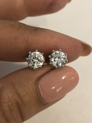 Brand New Sterling Silver 925 Stud Earrings With CZ Diamonds for Sale in La Mirada, CA