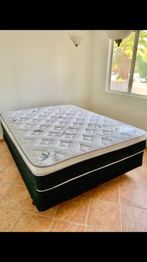 Queen Euro Pillow Top Mattress And Boxspring Set, New! for Sale in Desert Hot Springs, CA