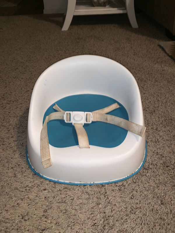 Blue and white Squish booster seat