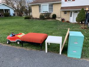 Curb Alert! Filing Cabinet, table, Ottoman, Little Tikes Car, dog Crate.... for Sale in Mechanicsburg, PA