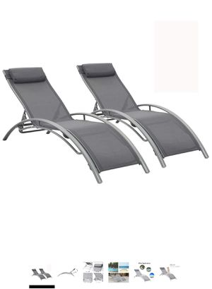 Outdoor Patio Lounge Chairs Aluminum Pool Chaise Lounges Adjustable for All Weather for Beach Backyard(2-Pack Gray for Sale in Diamond Bar, CA