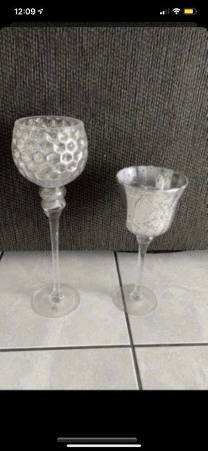 Set of 2 Mercury Glass candle holders for Sale in Colton, CA