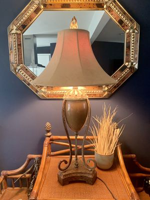 Vintage Antique glass and steel table lamp with three brightness settings for Sale in Las Vegas, NV