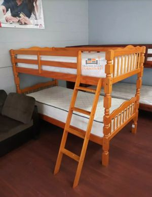 Brand New Twin Size Honey Oak Wood Bunk Bed + 2 Mattresses for Sale in Silver Spring, MD