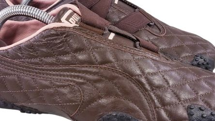 PUMA WOMAN MOSTRO QUILTED LEATHER BROWN PINK SNEAKERS SHOES SIZE 40.5/9.5 for Sale in Las Vegas,  NV