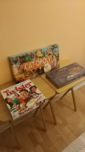 Board games (Cat-opoly, Twister, 3 family classics) for Sale in Aurora, CO