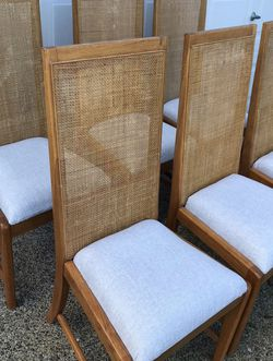 Solid Wood Chairs with Woven Back, Newly Upholstered. for Sale in Bothell,  WA