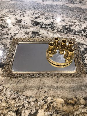 Antique Vanity Mirror/Tray & Gold Lipstick Perfume Tray for Sale in Los Angeles, CA