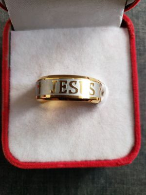 High quality large size 10 titanium steel 18 k plated jesus cross letter Bible wedding band men ring size 10 for Sale in Moreno Valley, CA