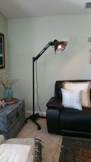 Industrial floor lamp with adjustable arm and Edison light bulb for Sale in Orlando, FL