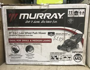 "Murray 21"" Gas Push Lawn Mower with Briggs and Stratton Engine, Side Discharge, Mulching, Rear Bag for Sale in Virginia Beach, VA"