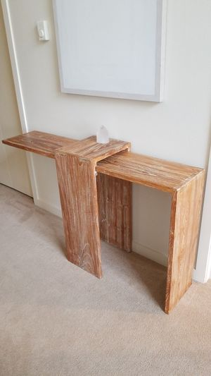 Custom made console table, Indonesian handcrafted. Heavy duty 3/4 inch teak for Sale in Mercer Island, WA