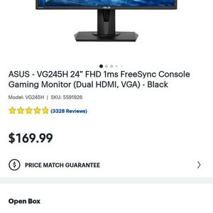 "ASUS - VG245H 24"" FHD 1ms FreeSync Console Gaming Monitor (Dual HDMI, VGA) - Black for Sale in Lakewood, WA"