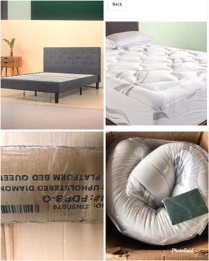 Brand New Queen Mattress and Gray Upholstered Platform Bef for Sale in Peoria, AZ