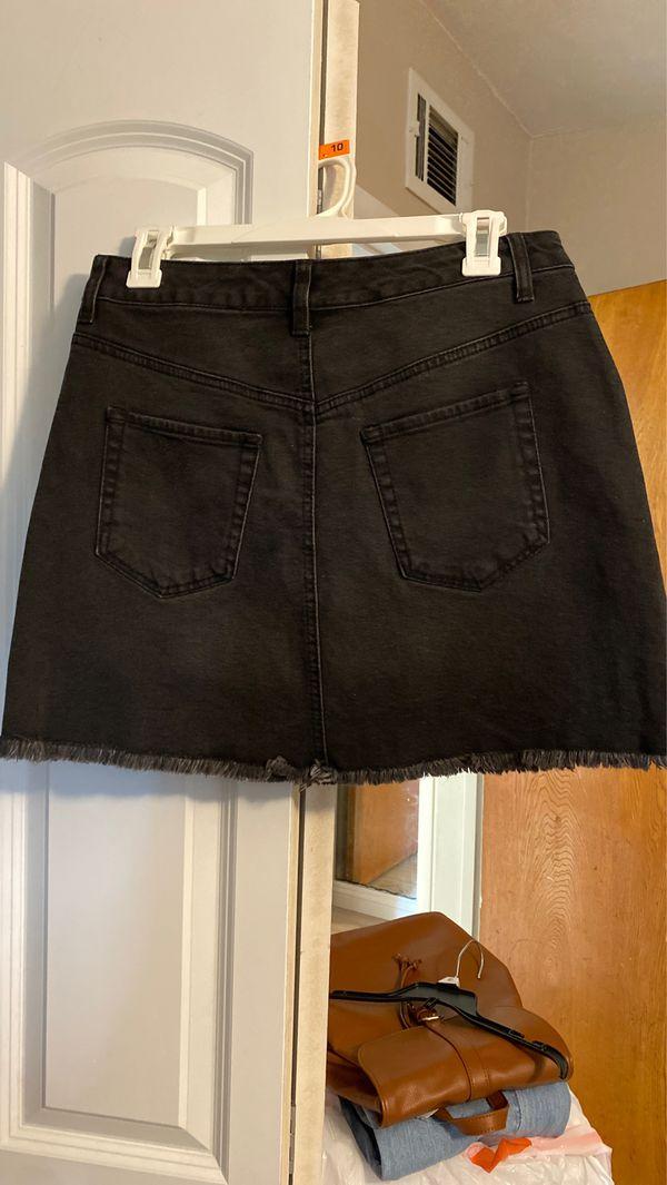 Target Fringe Black Denim Skirt New Size 10