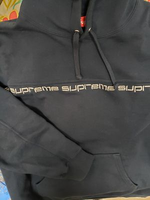 VNDS Supreme Text Stripe Hoodie Navy Sz Medium Thick for Sale in Halesite, NY