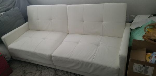 Modern White Leather Futon