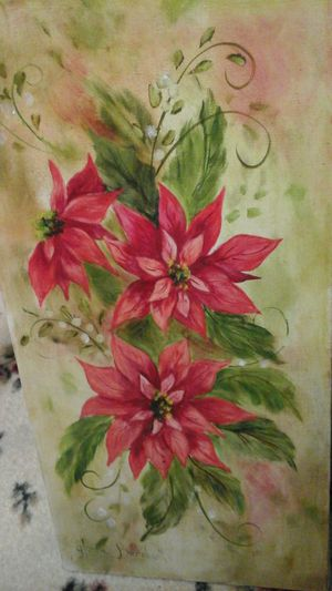 Hybiscus flower painting on canvas from the 1950's for Sale in Waseca, MN