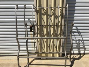 Sleigh twin size Heavy iron bed great condition silver for Sale in Dinuba, CA