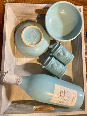 "2 blue McCoy bowls gift set ""Old meets New"" ""Something in blue"" for Sale in Worthington, IN"