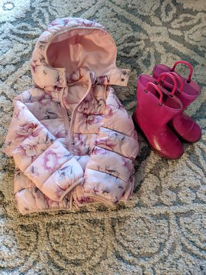 Girls Puffer Jacket and Rain Boots for Sale in Stockton, CA