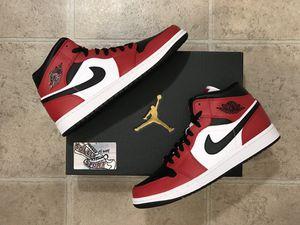 NEW Nike Air Jordan 1 Retro Mid Chicago Toe Red Black White Bred Mens OG for Sale in Buffalo, NY
