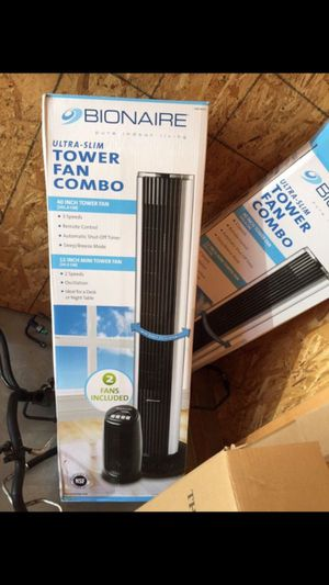Bionaire ultra slim tower Fan ComBo! 2with a remote for Sale in Vancouver, WA
